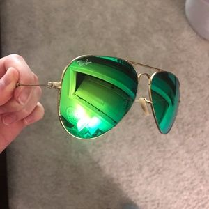 Ray-Ban Aviator Flash Lenses Sunglasses With Case!